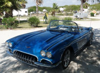 Blue Corvette Stingray with one-of-a-kind front grill added.