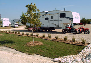 One of the manicured sites at the Texan RV Ranch