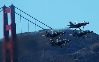The Blue Angels fly in low at the Golden Gate for a perfect backdrop