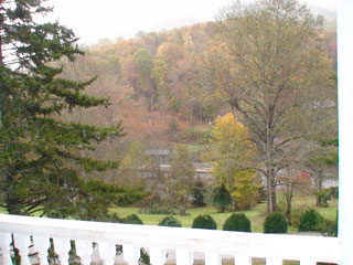 View of the mountains from the Balsam Mountain Inn porch