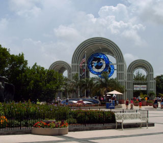 The grand entrance to SeaWorld
