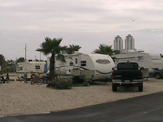 The KOA at South Padre Island has a range of backin and pullthrough sites available to fit RVs