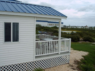 Side view of one of the waterfront lodges at the KOA