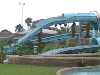 One of several tube chutes within Schlitterbahn Beach Waterpark