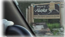 We enter Alaska, view from our truck