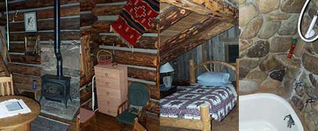 Interior of the two story log cabin.
