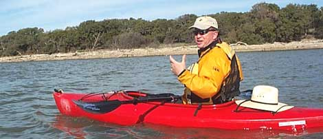 Scott Tiller, our knowledgeable Lake Buchanan Adventures guide pointing out some interesting aspects of the terrain.