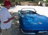 Sea Breeze RV Park owner describing the renovations done on his beautiful Corvette Stingray.