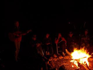 Singing around the campfire, enjoying a cool evening in Quartzsite