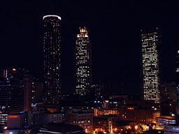 Omni Hotel at CNN Center area and Atlanta skyline at night
