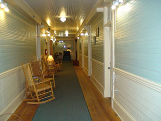 Wide hallways of the Balsam Mountain Inn