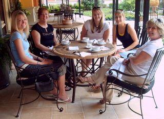 Friends enjoying a morning breakfast at the Hotel Granduca