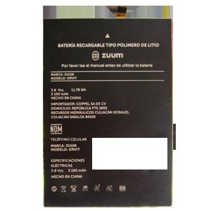 Bateria para celular ZUUM  ORVIT,  y otros.
