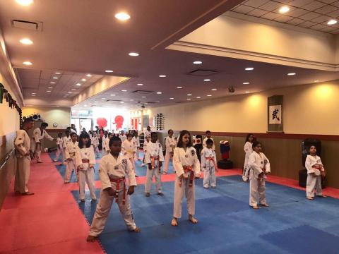 US Tae Kwon Do College students ready to practice.