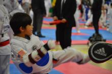 Young US Tae Kwon Do College student kicking target.