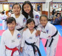 US Tae Kwon Do College students in class.