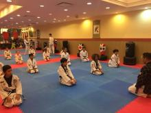 US Tae Kwon Do College students in formation.