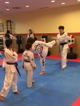 US Tae Kwon Do College students breaking boards.