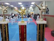 US Tae Kwon Do College achievement trophies.