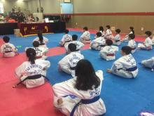 Young US Tae Kwon Do College students ready for instruction.