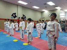 Young US Tae Kwon Do College little kicker class.