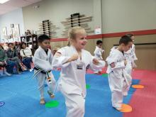 US Tae Kwon Do College little kicker class.