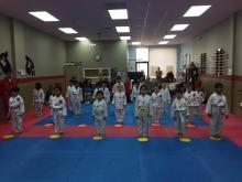 Young US Tae Kwon Do College students in formation.